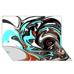 Abstract In Aqua, Orange, And Black Twin Hearts 3d Greeting Card (8x4)  by theunrulyartist