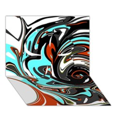 Abstract In Aqua, Orange, And Black Clover 3d Greeting Card (7x5)  by digitaldivadesigns