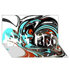 Abstract In Aqua, Orange, And Black Best Bro 3d Greeting Card (8x4)  by digitaldivadesigns