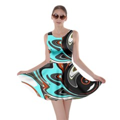 Abstract In Aqua, Orange, And Black Skater Dresses by theunrulyartist