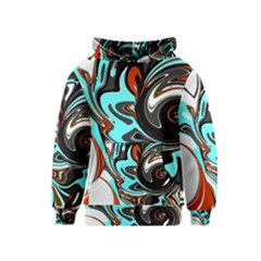 Abstract In Aqua, Orange, And Black Kid s Pullover Hoodies by theunrulyartist