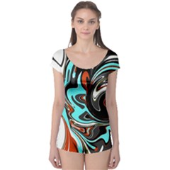 Abstract In Aqua, Orange, And Black Short Sleeve Leotard by theunrulyartist
