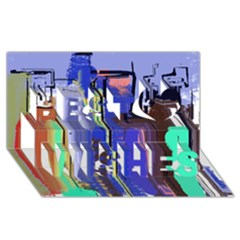 Abstract City Design Best Wish 3d Greeting Card (8x4)  by theunrulyartist