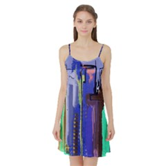 Abstract City Design Satin Night Slip