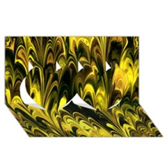 Fractal Marbled 15 Twin Hearts 3d Greeting Card (8x4)  by ImpressiveMoments