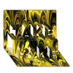 Fractal Marbled 15 Take Care 3d Greeting Card (7x5)