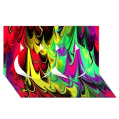 Fractal Marbled 14 Twin Hearts 3d Greeting Card (8x4)  by ImpressiveMoments