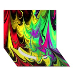 Fractal Marbled 14 Circle Bottom 3d Greeting Card (7x5)