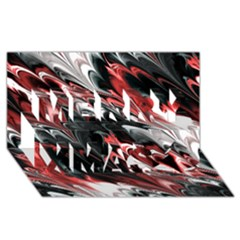 Fractal Marbled 8 Merry Xmas 3d Greeting Card (8x4)