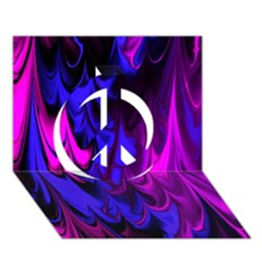 Fractal Marbled 13 Peace Sign 3d Greeting Card (7x5)