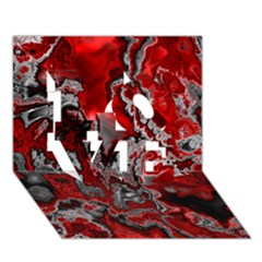 Fractal Marbled 07 Love 3d Greeting Card (7x5)