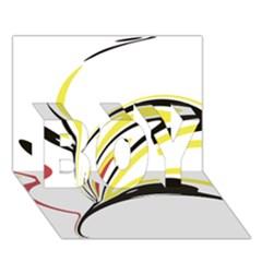 Abstract Flower Design Boy 3d Greeting Card (7x5)