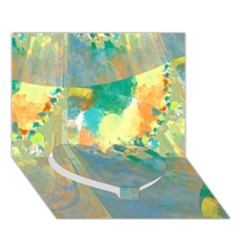Abstract Flower Design In Turquoise And Yellows Heart Bottom 3d Greeting Card (7x5)  by theunrulyartist