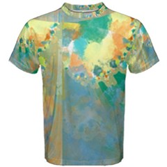 Abstract Flower Design In Turquoise And Yellows Men s Cotton Tees by theunrulyartist