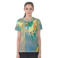Abstract Flower Design in Turquoise and Yellows Women s Cotton Tees by theunrulyartist