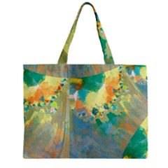 Abstract Flower Design In Turquoise And Yellows Zipper Tiny Tote Bags by theunrulyartist