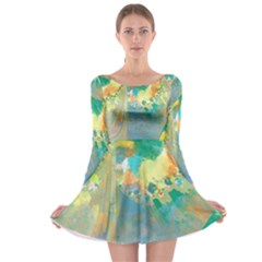 Abstract Flower Design In Turquoise And Yellows Long Sleeve Skater Dress