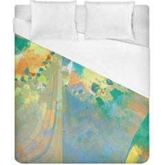 Abstract Flower Design In Turquoise And Yellows Duvet Cover Single Side (double Size) by digitaldivadesigns
