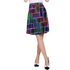Colorful Rectangles Pattern A Line Skirt