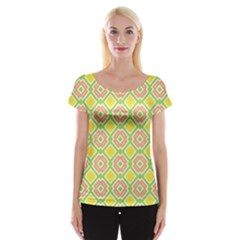 Cute Pretty Elegant Pattern Women s Cap Sleeve Top