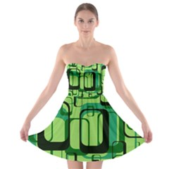 Retro Pattern 1971 Green Strapless Bra Top Dress by ImpressiveMoments
