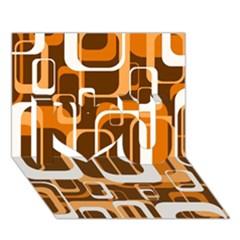Retro Pattern 1971 Orange I Love You 3d Greeting Card (7x5)  by ImpressiveMoments