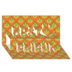 70s Green Orange Pattern Best Friends 3d Greeting Card (8x4)  by ImpressiveMoments