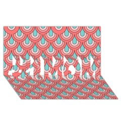 70s Peach Aqua Pattern #1 Mom 3d Greeting Cards (8x4)