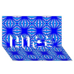 Retro Blue Pattern Hugs 3d Greeting Card (8x4)  by ImpressiveMoments