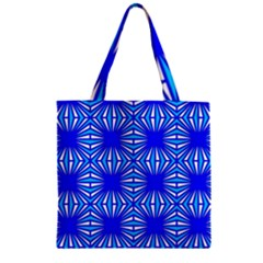 Retro Blue Pattern Zipper Grocery Tote Bags by ImpressiveMoments