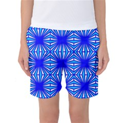 Retro Blue Pattern Women s Basketball Shorts