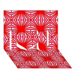 Retro Red Pattern I Love You 3d Greeting Card (7x5)
