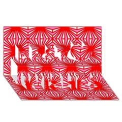 Retro Red Pattern Best Wish 3d Greeting Card (8x4)  by ImpressiveMoments