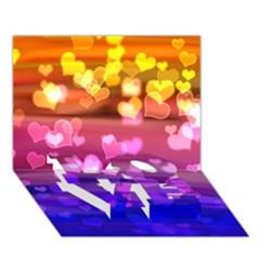 Lovely Hearts, Bokeh Love Bottom 3d Greeting Card (7x5)