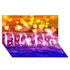 Lovely Hearts, Bokeh Best Bro 3d Greeting Card (8x4)  by ImpressiveMoments