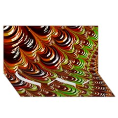 Special Fractal 31 Green,brown Twin Heart Bottom 3d Greeting Card (8x4)  by ImpressiveMoments