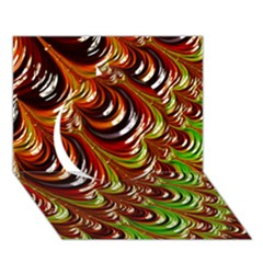 Special Fractal 31 Green,brown Circle 3d Greeting Card (7x5)  by ImpressiveMoments