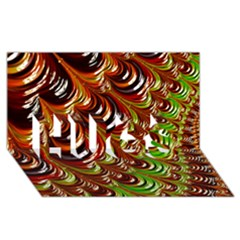 Special Fractal 31 Green,brown Hugs 3d Greeting Card (8x4)