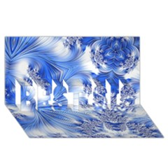 Special Fractal 17 Blue Best Sis 3d Greeting Card (8x4)