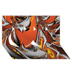 Special Fractal 24 Terra Twin Hearts 3d Greeting Card (8x4)