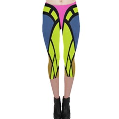 Distorted Symmetrical Shapes Capri Leggings by LalyLauraFLM