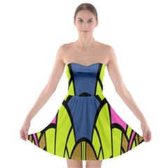 Distorted Symmetrical Shapes Strapless Bra Top Dress by LalyLauraFLM