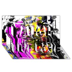 Abstract City View Laugh Live Love 3d Greeting Card (8x4)