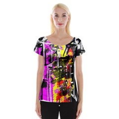 Abstract City View Women s Cap Sleeve Top