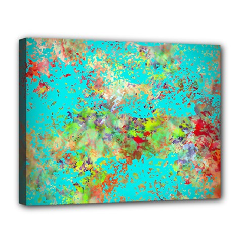 Abstract Garden In Aqua Canvas 14  X 11