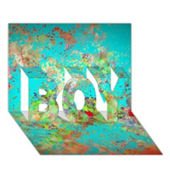Abstract Garden In Aqua Boy 3d Greeting Card (7x5) by theunrulyartist
