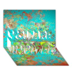 Abstract Garden In Aqua You Are Invited 3d Greeting Card (7x5)