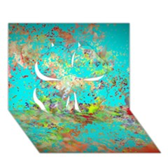 Abstract Garden In Aqua Clover 3d Greeting Card (7x5)  by digitaldivadesigns