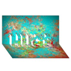 Abstract Garden In Aqua Hugs 3d Greeting Card (8x4)