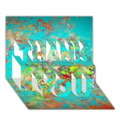 Abstract Garden In Aqua Thank You 3d Greeting Card (7x5)